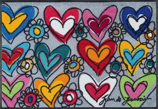 FUßMATTE 50/75 cm Herz Multicolor - Multicolor, Basics, Kunststoff/Textil (50/75cm) - Esposa