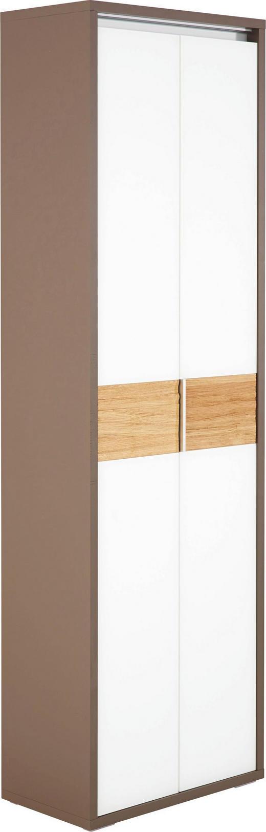 GARDEROBENSCHRANK Eiche lackiert Braun, Eichefarben, Weiß - Eichefarben/Braun, Design, Glas/Holz (62/202,5/35cm) - CASSANDO