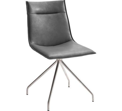 STUHL in Metall, Textil Grau, Edelstahlfarben - Edelstahlfarben/Grau, Design, Textil/Metall (48/87/62cm) - Novel