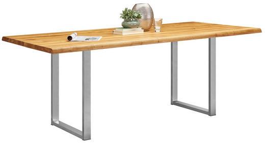 ESSTISCH in Holz, Metall 180/90/75 cm - Edelstahlfarben/Eichefarben, Natur, Holz/Metall (180/90/75cm) - Linea Natura