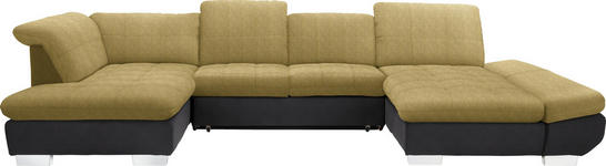 WOHNLANDSCHAFT in Textil Gelb, Taupe - Taupe/Chromfarben, Design, Kunststoff/Textil (211/350/204cm) - Xora