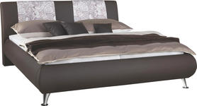 POLSTERBETT 160/200 cm  in Braun  - Silberfarben/Braun, Design, Textil/Metall (160/200cm) - Carryhome