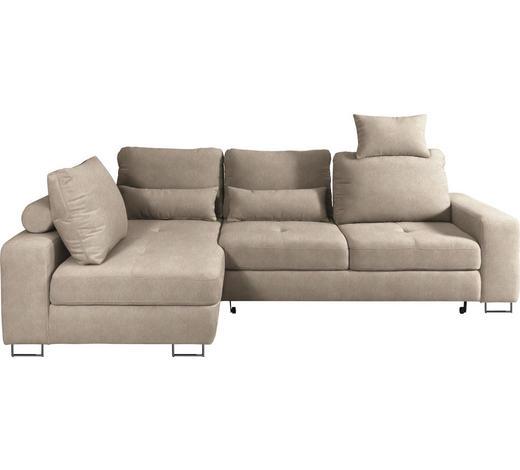 WOHNLANDSCHAFT in Textil Naturfarben, Beige - Beige/Naturfarben, Design, Textil/Metall (188/260cm) - Hom`in