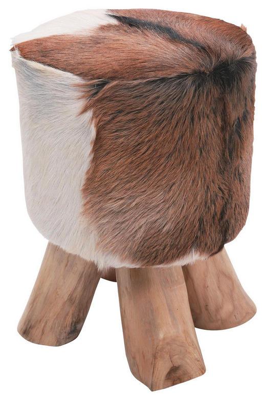 HOCKER Teakholz massiv Braun, Schwarz, Teakfarben, Weiß - Schwarz/Braun, Design, Holz/Textil (35/45/35cm) - Kare-Design
