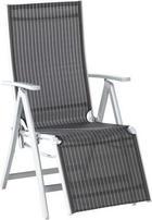 ZAHRADNÍ RELAXAČNÍ ŽIDLE - bílá/barvy stříbra, Design, kov/textil (58/108/86cm) - XORA