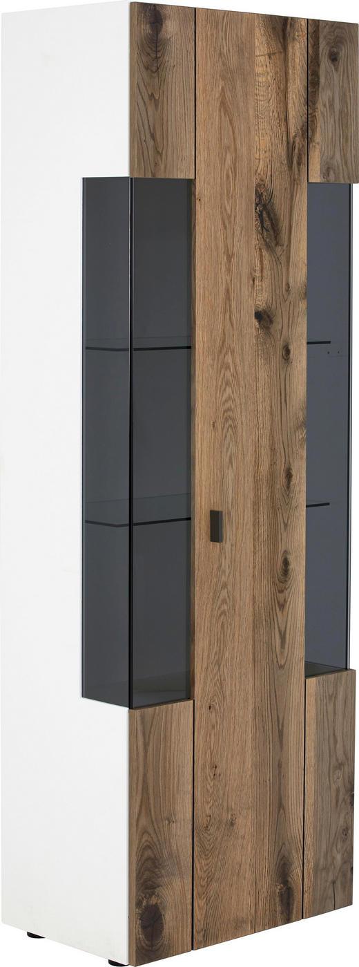 VITRINE in furniert Eiche Weiß, Eichefarben - Eichefarben/Schwarz, Design, Glas/Holz (65/195,6/41,2cm) - Gwinner Internation.