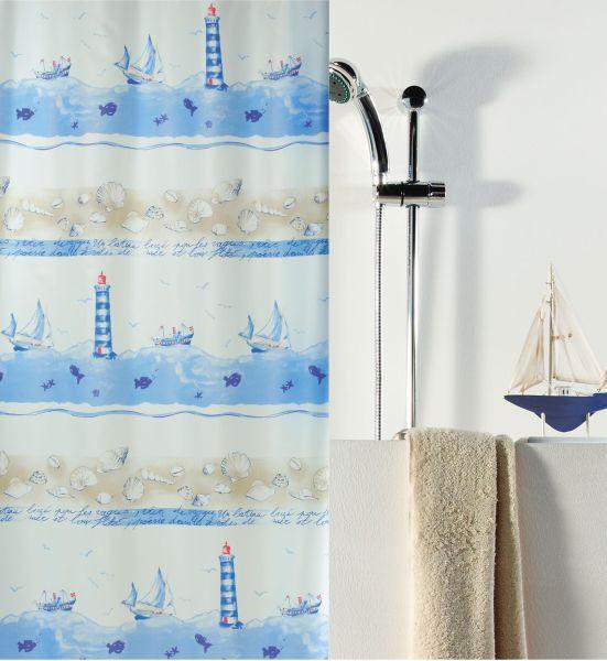DUSCHVORHANG  Blau, Sandfarben, Weiß - Sandfarben/Blau, Basics, Textil (180/200cm)