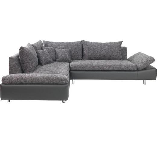 ecksofa lederlook webstoff nierenkissen rckenkissen chromfarbenschwarz modern textil - Eckschlafsofa Die Praktischen Sofa Fur Ihren Komfort