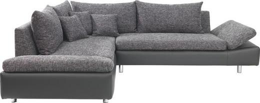 ECKSOFA Lederlook, Webstoff Nierenkissen, Rückenkissen - Chromfarben/Schwarz, MODERN, Textil/Metall (219/275cm) - CARRYHOME