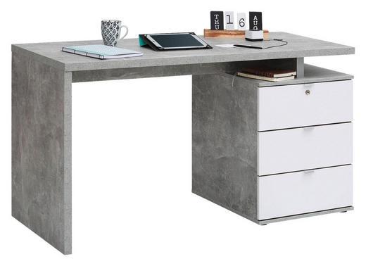 SCHREIBTISCH - Alufarben/Weiß, KONVENTIONELL, Holzwerkstoff/Metall (140/75/60cm) - Carryhome