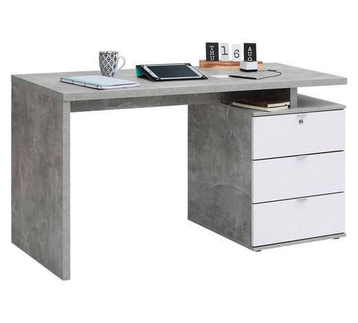 SCHREIBTISCH in Holzwerkstoff 140/75/60 cm  - Alufarben/Weiß, KONVENTIONELL, Holzwerkstoff/Metall (140/75/60cm) - Carryhome