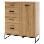 KOMODA - černá/barvy dubu, Konvenční, kov/dřevěný materiál (101/116/44cm)