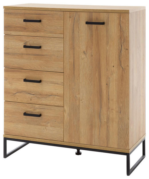 KOMODA - černá/barvy dubu, Konvenční, kov/kompozitní dřevo (101/116/44cm)