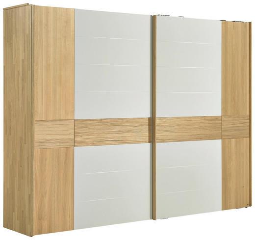SCHWEBETÜRENSCHRANK 2-türig Eiche massiv Eichefarben, Weiß - Eichefarben/Weiß, Design, Glas/Holz (299,2/231,0/70,8cm) - Valdera