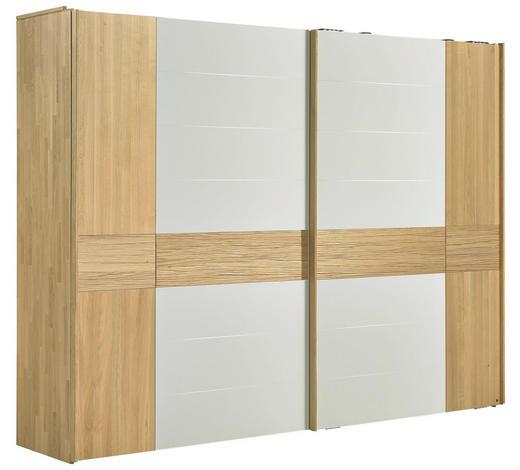 SCHWEBETÜRENSCHRANK 2-türig Eiche massiv Weiß, Eichefarben - Eichefarben/Weiß, Design, Glas/Holz (299,2/231,0/70,8cm) - Valdera