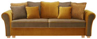 BIGSOFA in Textil Currygelb, Dunkelgrün - Currygelb/Dunkelgrün, ROMANTIK / LANDHAUS, Kunststoff/Textil (255/76-90/106cm) - Hom`in