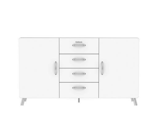 SIDEBOARD lackiert Weiß - Chromfarben/Weiß, Design, Holzwerkstoff/Metall (163/92/43cm) - Carryhome