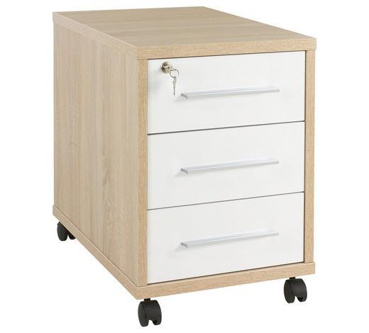 ROLLCONTAINER - Silberfarben/Weiß, KONVENTIONELL, Holzwerkstoff/Kunststoff (43,8/63/65cm) - Voleo