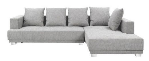 Ecksofa Webstoff Rückenkissen - Chromfarben/Grau, Design, Kunststoff/Textil (305/225cm) - Carryhome