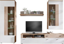 WOHNWAND Eichefarben, Weiß - Chromfarben/Eichefarben, Design, Glas/Holzwerkstoff (300/205/52cm) - Hom`in