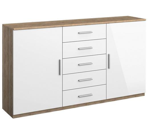 KOMMODE Weiß, Eichefarben - Eichefarben/Alufarben, KONVENTIONELL, Holzwerkstoff/Kunststoff (149/86/37cm) - Carryhome