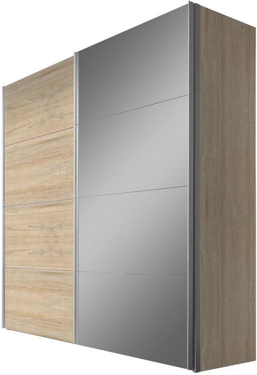SCHWEBETÜRENSCHRANK in Sonoma Eiche - Alufarben/Sonoma Eiche, Design, Glas/Holzwerkstoff (200/216/68cm) - Hom`in