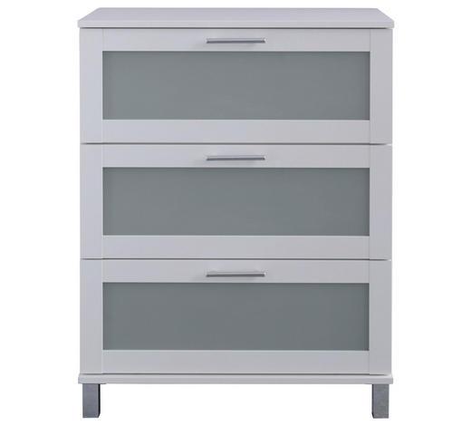 SEITENSCHRANK 79/89/41 cm - Silberfarben/Weiß, Design, Glas/Holzwerkstoff (79/89/41cm) - Xora