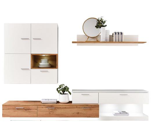 WOHNWAND in Weiß, Eichefarben - Eichefarben/Silberfarben, Design, Holzwerkstoff/Kunststoff (280/185/47cm) - Ti`me