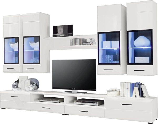 Fesselnd WOHNWAND Schwarz, Weiß   Silberfarben/Schwarz, Design, Glas/Holzwerkstoff  (280