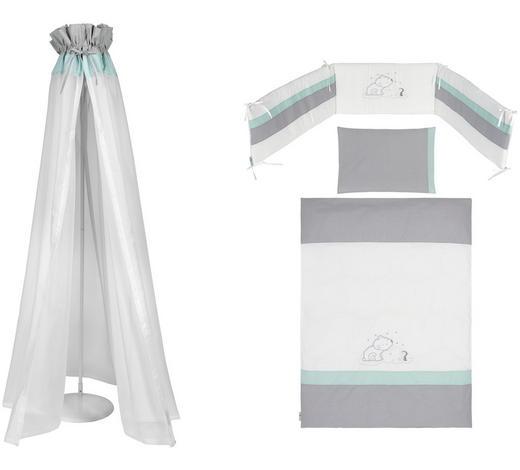 GITTERBETTSET 4-teilig Eisbär  - Türkis/Weiß, Basics, Textil - My Baby Lou