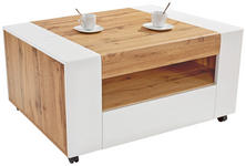 Couchtisch Toronto mit Fach in Wotan Eiche Dekor - Eichefarben/Weiß, MODERN, Holzwerkstoff (110/48,3/75cm) - Ombra