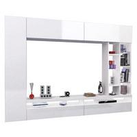 WOHNWAND in Weiß - Weiß, Design, Glas/Holzwerkstoff (250/180/30cm)