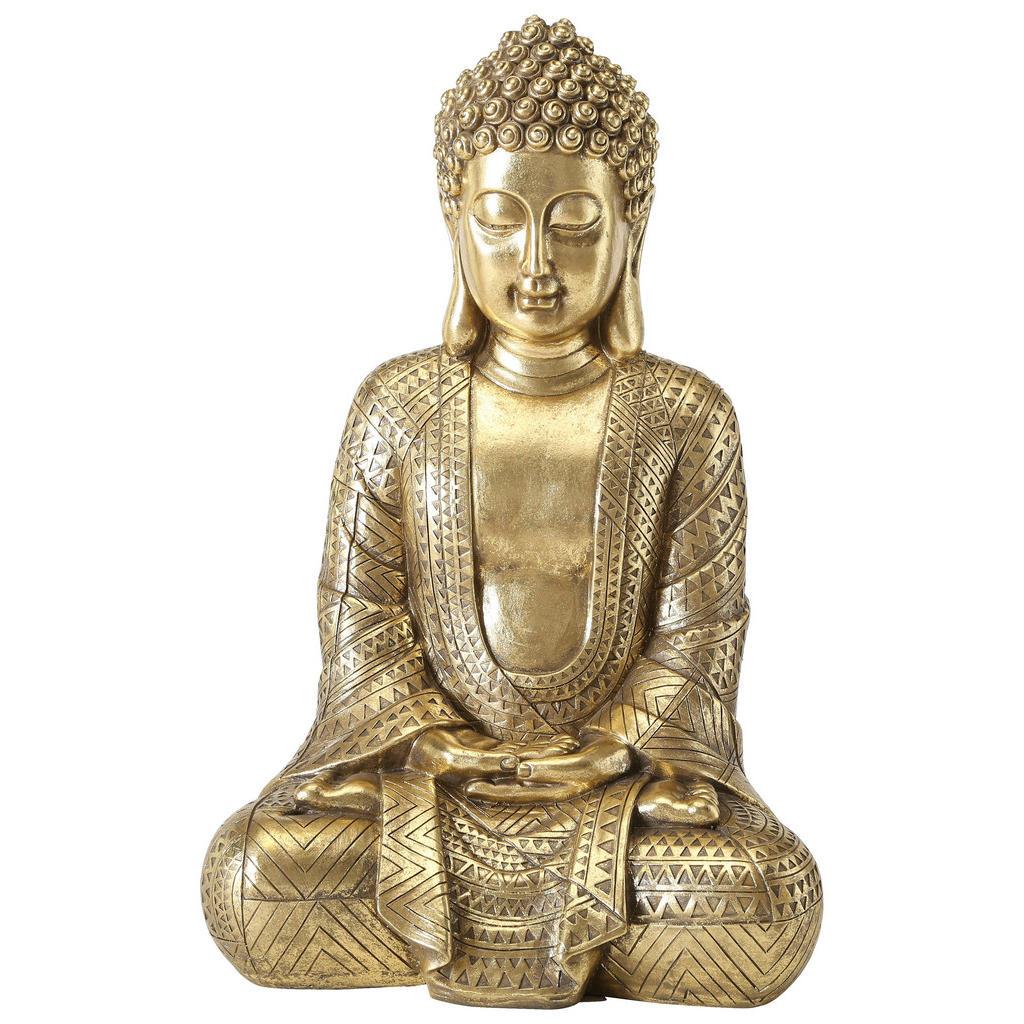 Image of XXXLutz Buddha 24/39 cm , 1013248 , Goldfarben , Kunststoff , 24x39 cm , sitzend , 0048854884