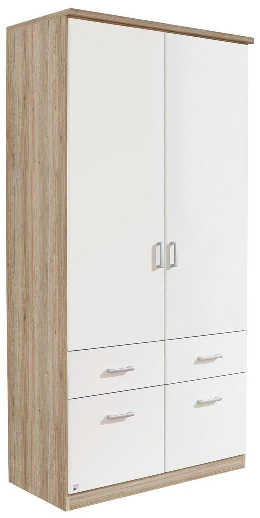 KLEIDERSCHRANK 2-türig Eichefarben, Weiß - Eichefarben/Silberfarben, Design, Holzwerkstoff/Kunststoff (91/199/56cm) - Carryhome