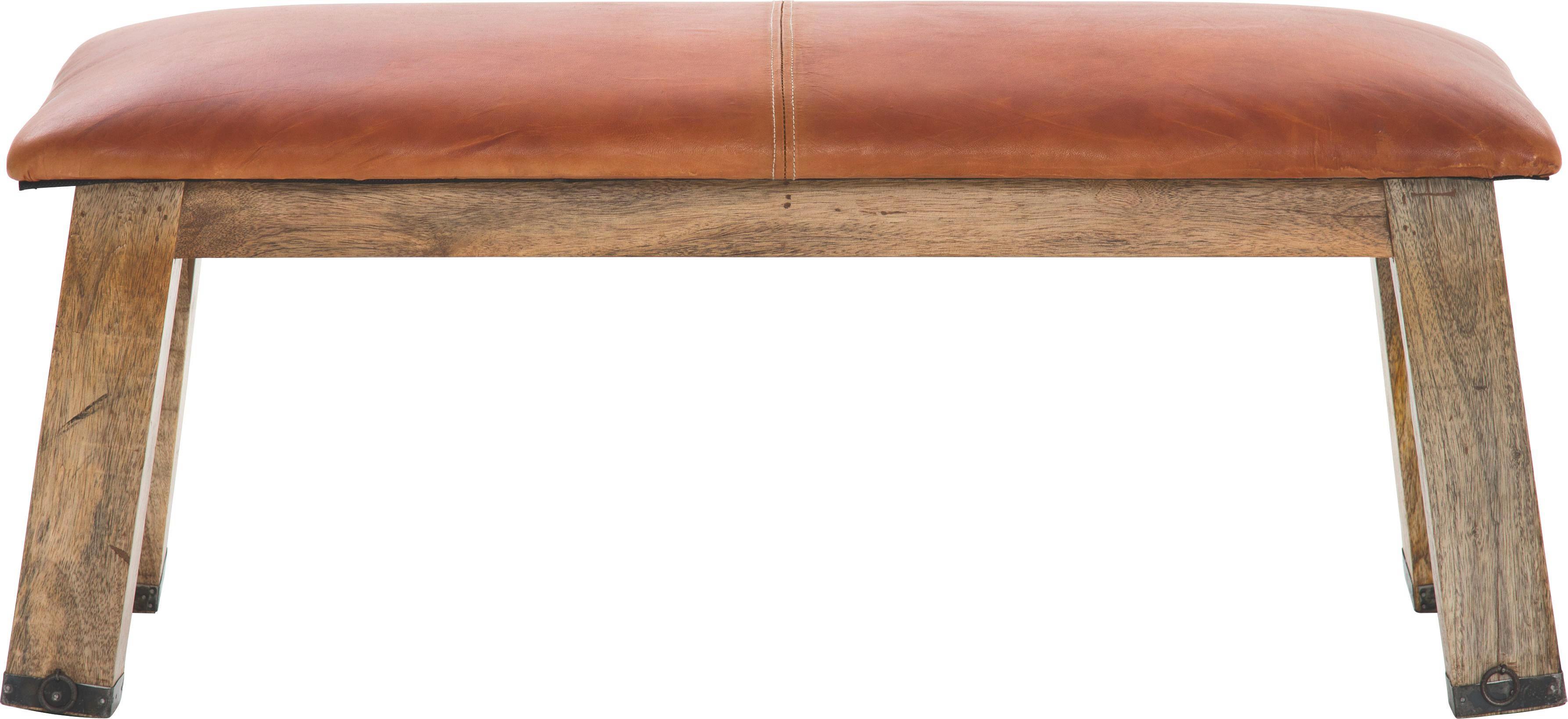 SITZBANK in Holz, Leder Braun - Braun, Design, Leder/Holz (110/43/37cm)