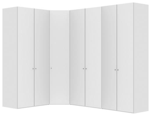 ECKSCHRANK Weiß - Silberfarben/Weiß, Design, Holzwerkstoff/Metall (200/300/236/58,5cm) - Jutzler
