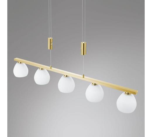 LED-HÄNGELEUCHTE   - Messingfarben/Weiß, KONVENTIONELL, Glas/Kunststoff (80/150cm)