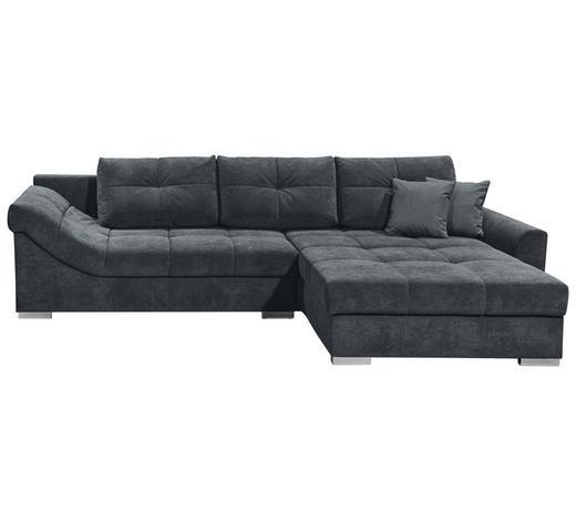 WOHNLANDSCHAFT in Textil, Holzwerkstoff Anthrazit - Anthrazit/Silberfarben, KONVENTIONELL, Holzwerkstoff/Kunststoff (315/197cm) - Carryhome