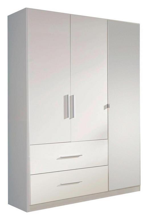 KLEIDERSCHRANK 3  -türig Weiß - Alufarben/Weiß, Design, Glas/Holzwerkstoff (136/197/54cm) - CARRYHOME