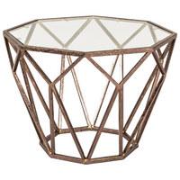 BEISTELLTISCH in Glas, Metall 55/55/38 cm - Bronzefarben, Design, Glas/Metall (55/55/38cm)