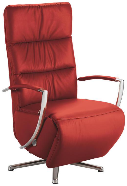 RELAXSESSEL in Leder Rot - Chromfarben/Rot, Design, Leder/Metall (64/112/80cm) - Cantus