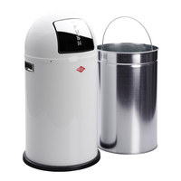 ABFALLSAMMLER PUSHBOY 50 L  - Edelstahlfarben/Weiß, Basics, Kunststoff/Metall (40/75cm) - Wesco