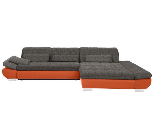WOHNLANDSCHAFT in Textil Braun, Orange - Chromfarben/Braun, Design, Kunststoff/Textil (341/204cm) - Xora