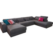 WOHNLANDSCHAFT in Textil Dunkelgrau - Dunkelgrau, Design, Textil (190-195/394-399/232-237cm) - Pure Home Lifestyle