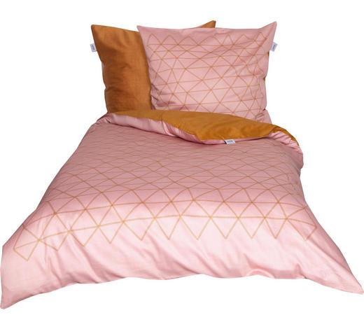 BETTWÄSCHE Makosatin Rosa, Dunkelgelb 155/220 cm  - Dunkelgelb/Rosa, Trend, Textil (155/220cm) - Schöner Wohnen