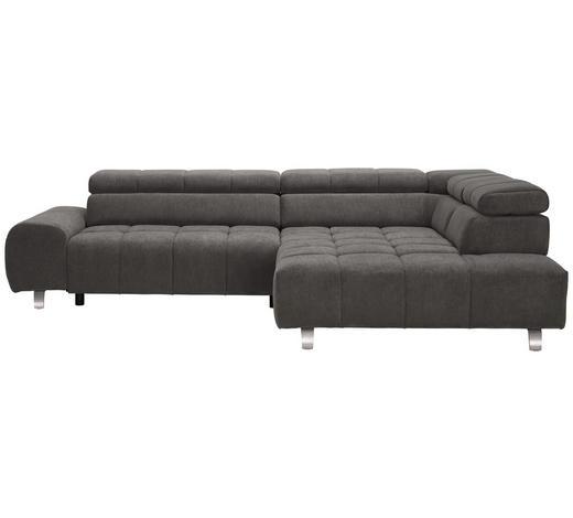 WOHNLANDSCHAFT in Textil Grau - Silberfarben/Grau, Design, Textil/Metall (295/201cm) - Hom`in