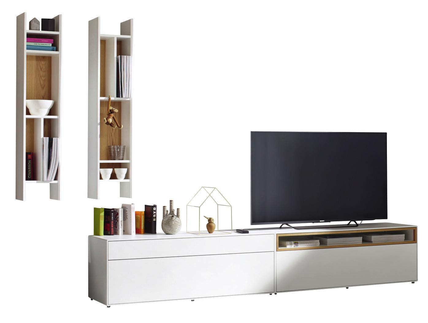WOHNWAND In Eichefarben, Weiß   Eichefarben/Schwarz, Design, Holzwerkstoff  (334/
