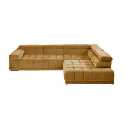 SEDACÍ SOUPRAVA, textil, žlutá - barvy chromu/žlutá, Design, kov/textil (326/222cm) - Beldomo Style