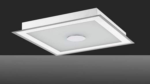 LED-DECKENLEUCHTE - Silberfarben/Weiß, Design, Glas/Metall (48/48/14,5cm)