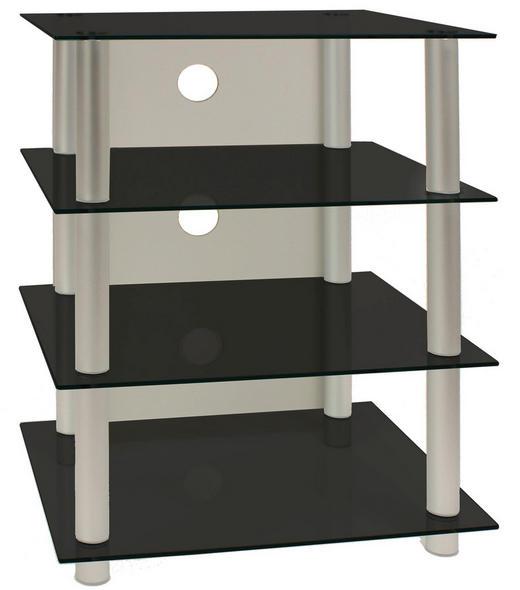 PHONOTISCH Glas, Metall Schwarz, Silberfarben - Silberfarben/Schwarz, KONVENTIONELL, Glas/Metall (54/70/45cm)